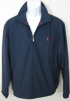 MEN'S POLO RALPH LAUREN NAVY BLUE JACKET MEDIUM SPRING WINDBREAKER GOLF COAT