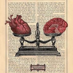 EQUILIBRIUM human HEART BRAIN on dictionary book page art print upcycled anatomical heart brain scale black white art from BlackBaroque on Etsy. Book Page Art, Book Art, Arte Com Grey's Anatomy, Art Sketches, Art Drawings, Human Anatomy Art, Brain Anatomy, Medical Wallpaper, Brain Art
