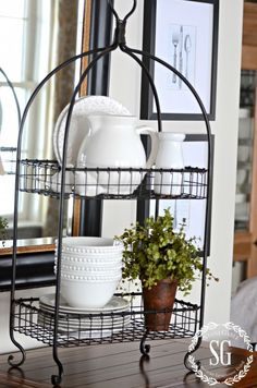 WHITE BAR VIGNETTE… when simple is fabulous - white ironstone on a double rack