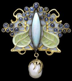Louis Zorra (possibly born in Italy and working  in Paris, dates unknown), circa 1900 brooch with opal  and pearl, gold, silver, enamel and sapphire
