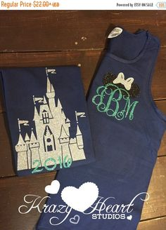 SPRING SALE Castle Disney Tank - Minnie Ears Monogram - Navy and Mint Glitter Vinyl - Comfort Color - Disney Shirt - Castle Monogram