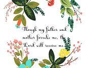 Christian Wall Art- Psalm 27:10- 8.5X11 Printable - BV-319