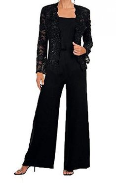 Fanmu Chiffon Three Pieces Mother Of The Bride Pant Suit With Lace Jacket Black - Fashion Wedding Pants Outfit, Wedding Pantsuit, Groom Outfit, Black Pant Suit, Black Dress Pants, Mother Of The Bride Dresses Long, Mothers Dresses, Evening Dresses Plus Size, Lace Jacket