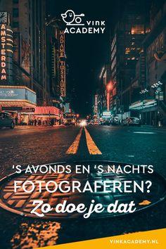 's Avonds of 's nachts fotograferen in een stad is heel gaaf. Juist door het ontbreken van daglicht kun je veel spannende effecten toevoegen aan je foto's. Hoe je dat doet? In dit artikel geef ik je 17 tips voor avondfotografie en nachtfotografie in een stad. #fotografietips