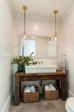 Powder room featuring a salvaged wood console table upcycled into a washstand fitted with a large ve&; Powder room featuring a salvaged wood console table upcycled into a washstand fitted with a large ve&; C B cbsugarandspice […] room storage combo Bad Inspiration, Bathroom Inspiration, White Shiplap Wall, Coastal Farmhouse, Modern Coastal, Farmhouse Vanity, Coastal Style, Farmhouse Kitchens, Coastal Decor