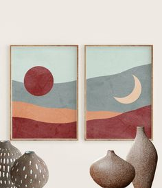 Sun and Moon Print Set of 2 Burnt Orange and Teal Abstract Diy Canvas Art, Diy Wall Art, Modern Wall Art, Diy Art, Abstract Landscape, Abstract Art, Watercolor Art, Moon Print, Art Drawings