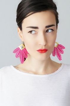 Clavesa // Pink Earrings/ Statement Earrings/ Lace Earrings/ Boho Earrings/ Long Earrings/ Leaf Earrings/ Fashion Earrings/ Gift For Her