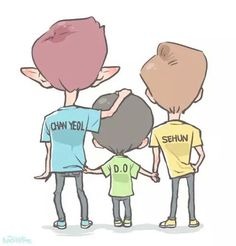Image discovered by Yanki. Find images and videos about exo, baekhyun and chanyeol on We Heart It - the app to get lost in what you love. Exo Cartoon, Exo Fan Art, Chansoo, Dad Jokes, Minhyuk, Kyungsoo, Chibi, Fanart, Kpop