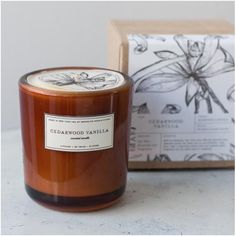 Cedarwood Vanilla Soy Wax Amber Glass Candle