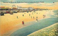 Jacksonville Beach Florida FL 1939 Amusement Park Ferris Wheel Vintage Postcard