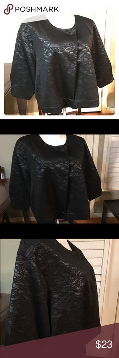 Ladies New Cover with Buttons Size 3x Color black Pattern on outside as picture shows 94% Polyester  6% Spandex   I strive to present all my items as accurately and clearly as possible.  Please ask if you need additional pictures, measurements or clarifications. Marla Wynne Jackets & Coats