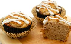 Get the taste of a cinnamon roll without all the work! These muffins are delicious warm out of the oven with a drizzle of a tangy icing made with Greek yogurt. Gluten Free Quick Bread, Gluten Free Flour, Gluten Free Recipes, Cinnamon Roll Muffins, Cinnamon Rolls, Better Batter, Batter Recipe, Gluten Free Breakfasts, Baking