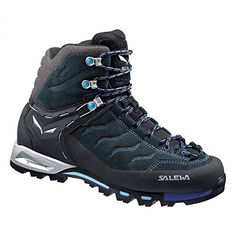 Introducing Salewa Womens MTN Trainer Mid GTX Boots Carbon River Blue 9  Hiking Sock Bundle. 3471553e6a2