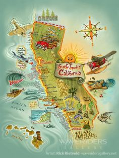California surf spots, by Rick Rietveld #map #california #surfing