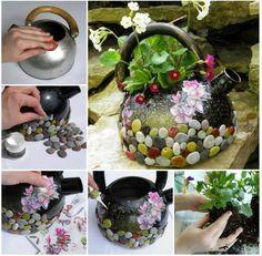 40+ kreatywny DIY ogród Pojemniki i sadzarki z materiałów pochodzących z recyklingu 12