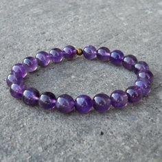 Amethyst Gemstone Yoga Mala Bracelet. #amethyst #purple #yoga #bracelet