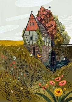 A gorgeous illustration of a house by Olga Demidova | #illustration