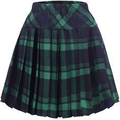 Amazon.com: Zeagoo Women High Waisted Plaid Pleated Mini Skater... ($23) ❤ liked on Polyvore featuring skirts, mini skirts, plaid skirt, blue plaid skirt, mini skirt, tartan mini skirt and plaid mini skirt