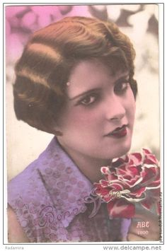 """POSTCARD """"Girl with Rose"""" France 1920-30."""