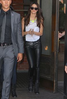 Leather trousers & white vest