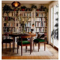 Up House, Cozy House, Home Library Rooms, Dining Room Office, Bookshelves In Living Room, Shelves In Dining Room, Living Room Decor, Dining Living Room Combo, Cozy Dining Rooms