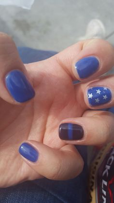 My thin blue line nails #backtheblue #bluelivesmatter
