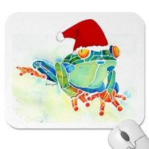 Christmas Tree Frog mousepads by Jo Lynch / Whimzicals http://www.zazzle.com/whimzicals/gifts?cg=196653240336788013#