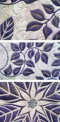 close up of quilting, Nightshade by Esther Aliu.  Stencil quilting.