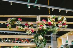 Beautiful flower ceiling decor! Flower Potluck Party at West Elm