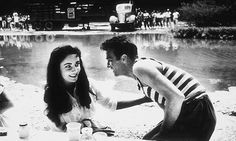Montgomery Clift and Elizabeth Taylor fooling around on the set of Raintree County (1957)