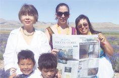 Now Being Read in Utah!   Kinda Carvalho, Jeanne Collins, Jessie Marie Maestas, Santiago Carvalho and Javier Carvalho reading The Taos News in at Whispering Springs Farm in Mona, Utah.