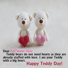 A new and romantic way to wish Teddy Day to the loved one. Get Happy Teddy Day images with name of your love. Make feel them extra special. Happy Teddy Day Images, Happy Teddy Bear Day, Get Happy, Names