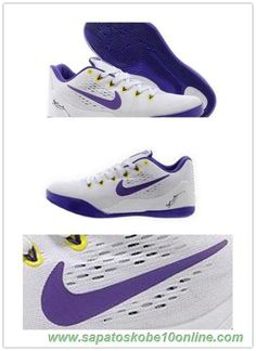 sites de lojas de tenis 653972-703 Branco / Roxo Nike Kobe 9 EM
