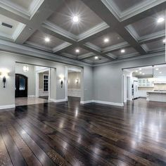dream house ideas: Grey Beam Coffered Ceiling Ideas With Grey Walls A. Dream Home Design, My Dream Home, Home Interior Design, Studio Interior, Dream House Interior, Beautiful Houses Interior, Dream House Plans, Luxury Homes Interior, Interior Paint