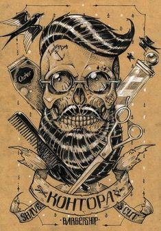 "Vintage Hairdresser Tattoos Patterned Kraft paper ""KOHTOPA Barbershop"" mural painting wall sticker home decor for living room Barber Tattoo, Barber Logo, Glitter Beards, Tattoo Posters, Barber Shop Decor, Barbershop Design, Geniale Tattoos, Poster On, Skull Art"
