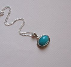 Amazonite Gemstone Sterling Silver Necklace Silver by SevimsDesign, $56.00