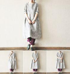 retro blue floral cotton linen dress plus size casual by ideacloth