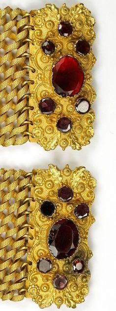 Georgian Pinchbeck Pair of Garnet Bracelets or Choker Necklace