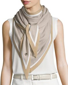 "Loro Piana scarf with contrast borders. Ample size allows many ways to drape, tie, or knot. Approx. 82.7""L x 35.4""W (210 x 90cm). Cashmere/silk. Dry clean. Made in Italy."