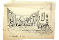 Circled drawing room sketch. Pen on tracing paper.