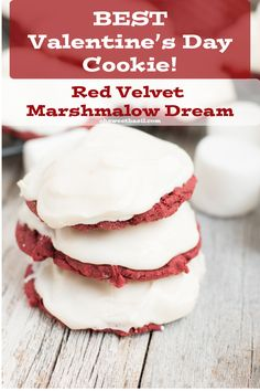 The Best Valentines Day Cookie (and my husbands favorite ever!) Red Velvet cookie,  marshmallow and a secret cream cheese frosting! ohsweetbasil.com1