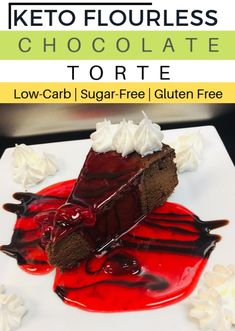 Description: This Low-Carb-Keto, Sugar-free, nut-free and gluten-free Flourless Chocolate Torte is a great, effortless, festive and simple dessert for chocolate lovers. It is very easy and simple as well to make by just a few ingredients and its quite instant to prepare.   #Keto #KetoLife #KetoBreakfast #KetoRecipes  #KetoMeals #Ketogenic #KetoFood #Lchf  #Easy  #Foodie #LowCarbRecipe #KetoDiet #LowCarbDiet #LowCarbDessert #Dessert #SugarFree #GlutenFree #Ketosis #WeightLoss #ChocolateTorte