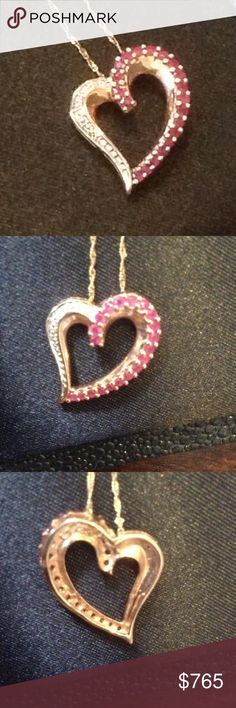 Ruby & Diamond slide 10KT .50ctw of gorgeous Ruby/Diamonds accents set in 10KT rose gold..Free gold chain included Jewelry Necklaces