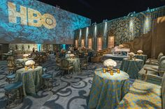 The indoor-outdoor event, overseen by HBO's Cindy Tenner and designed by Billy Butchkavitz, filled the pool deck and adjoining restaurant space with decor Butchkavitz said was inspired by an early 1930s movie set design by Cedric Gibbons. The Old Hollywood musical's look inspired the party's topaz and gold color palette.  Photo: Gabor Ekecs