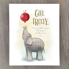 """""""No one can help everyone. But, everyone can help someone."""" From an early age parents seek ways to teach their young ones the importance of sharing. This sweet baby elephant supporting a song bird helps illustrate the warm feeling that giving to others can create. Hang it in a bedroom, nursery or playroom as a reminder and conversation piece about the rewards of being generous."""