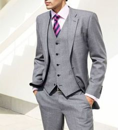Grey suit. Except with a bow tie for Bos :)