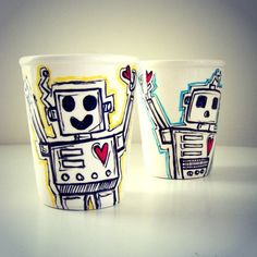 Robot Ceramic Cup Set Hand Painted Black White Turquoise Blue Red Heart Yellow Geekery Cups - READY TO SHIP