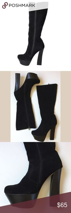 """Like new! Halston Platform Boots Like new! H by Halston Platform Boots...black suede...inside zipper...sitcom wardrobe stock worn once on set...excellent condition with minor dings to platforms heels (please see pics)...heel 6""""...platform 2""""...total boot length 20.5""""...leg opening 16""""...leather upper...balance man made. Original box not included. Size 10B. Retail $180 H by Halston Shoes Heeled Boots"""