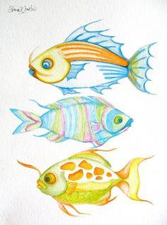 ORIGINAL FIsh TRio  watercolor seashore coastal Colorful  Whimsical OOaK ocean