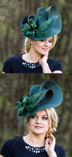 Teal Green Wavy Slice Hat Fascinator Headpiece. Mother of the bride, or outfit for day at the races, royal ascot, kentucky derby oaks day, epsom derby. Aintree, Royal Ascot, Melbourne Cup Ladies Day outfits. Outfit ideas. Inspiration for Day at the Races, weddings. Wedding Outfits #weddings #fashion #racingfashion #bighats #kentuckyderby #royalascot #ladiesday #fascinators #derbyoutfits #etsyfinds #derbyhats #affiliatelink #outfitideas #passion4hats #racingfashion #melbournecup